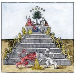 Pyramid Of Lions From Andreas Libavius Alchymia Frankfurt 1606