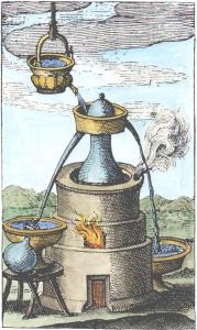 17th Century Engraving Of Distillation Apparatus