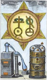 Engraving From Fictuld Herman Azoth Et Ignis Leipzig 1749, Alchemical And Hermetic Emblems 2