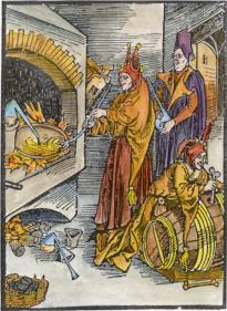 Satirical Woodcut Of Alchemists From Sebastian Brandt Narrenschiff 1494