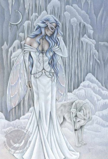 White Winter Angel And Wolf