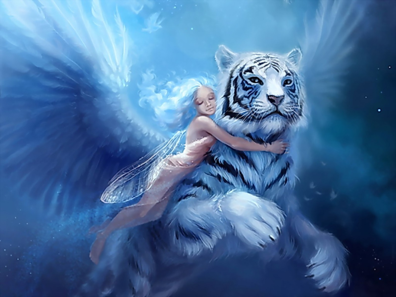 Angel With White Tiger