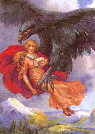Idunna Is Carried Off By Eagle Thiazi, Asatru Gods And Heroes