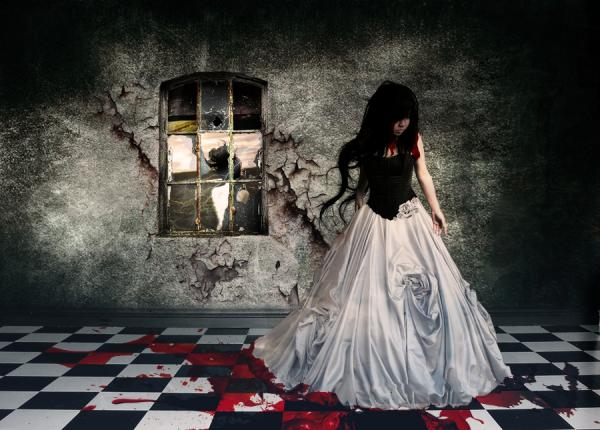 Gothic Girl In Dress, Bloody