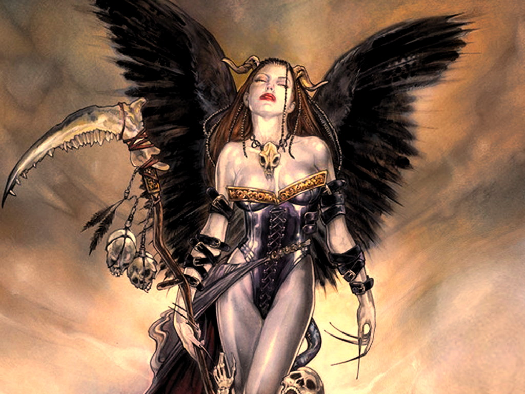 Dark Angel With Sculls