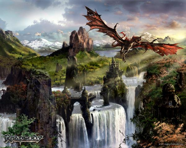 Fantasy Dragon Behind Waterfalls, Dragons