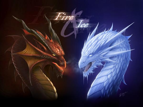 Fantasy Dragon Fire And Ice