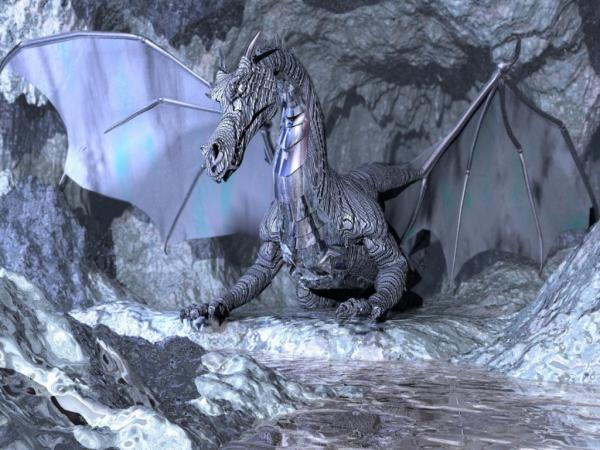 Grey Dragon In Grey Rocks