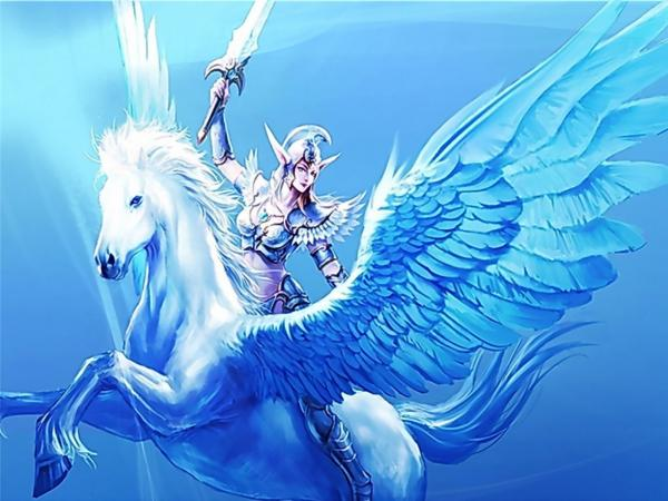 Elf Warrior On Winged Horse