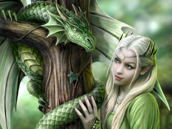 Elven Princess And Green Snake
