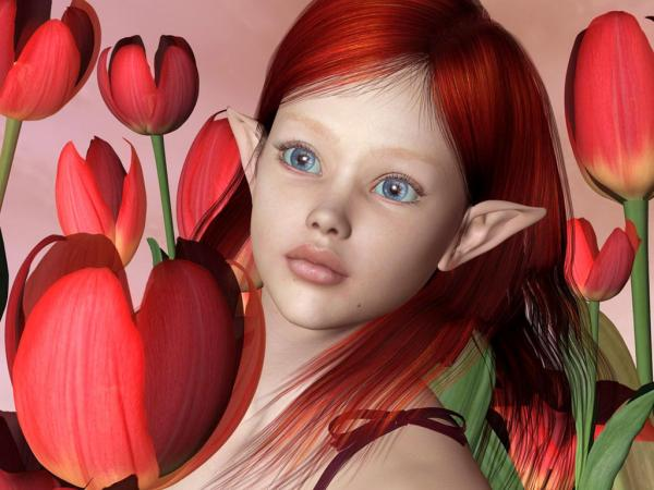 Elf And Tulips