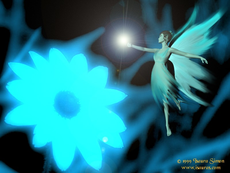 Fairy And A Blue Flower Star