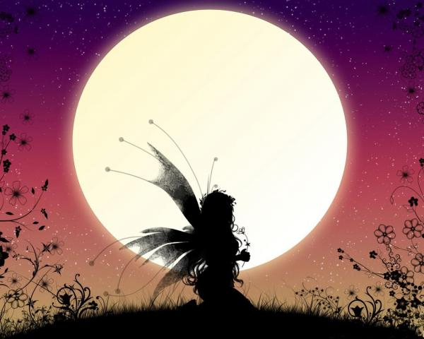 Fairy In Front Of The Moon