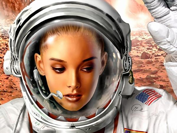 Greeting Of Girl Astronaut, Fiction 1