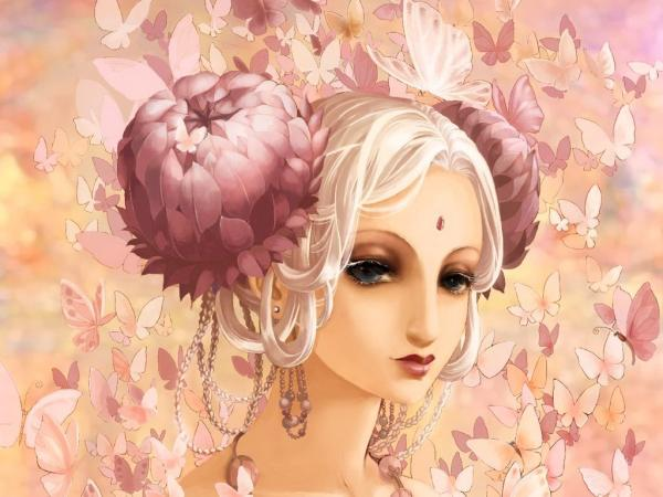 Pink Flowers In Anime Hairs, Magic Beauties 1