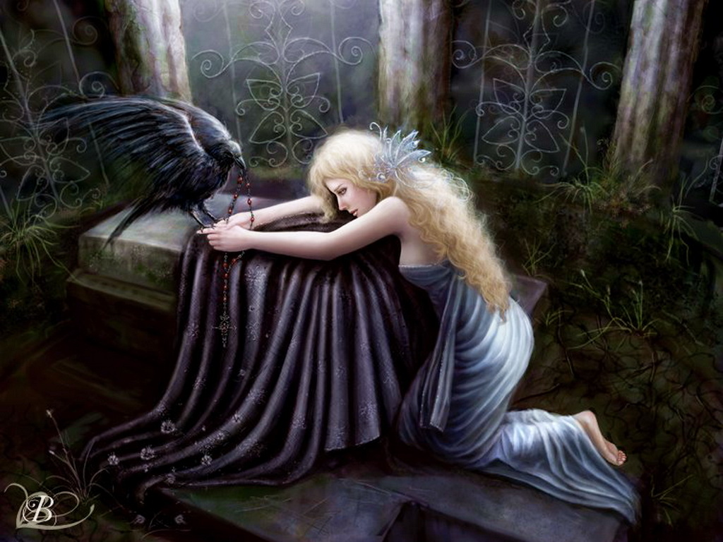 Raven And Blond Fantasy Girl