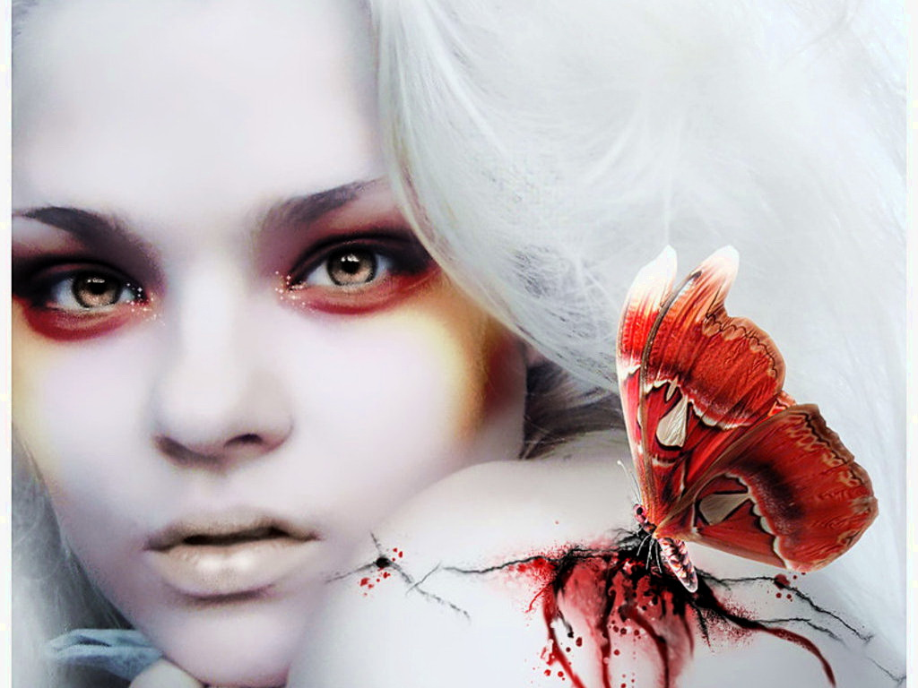 Red Bloody Butterfly And Beauty