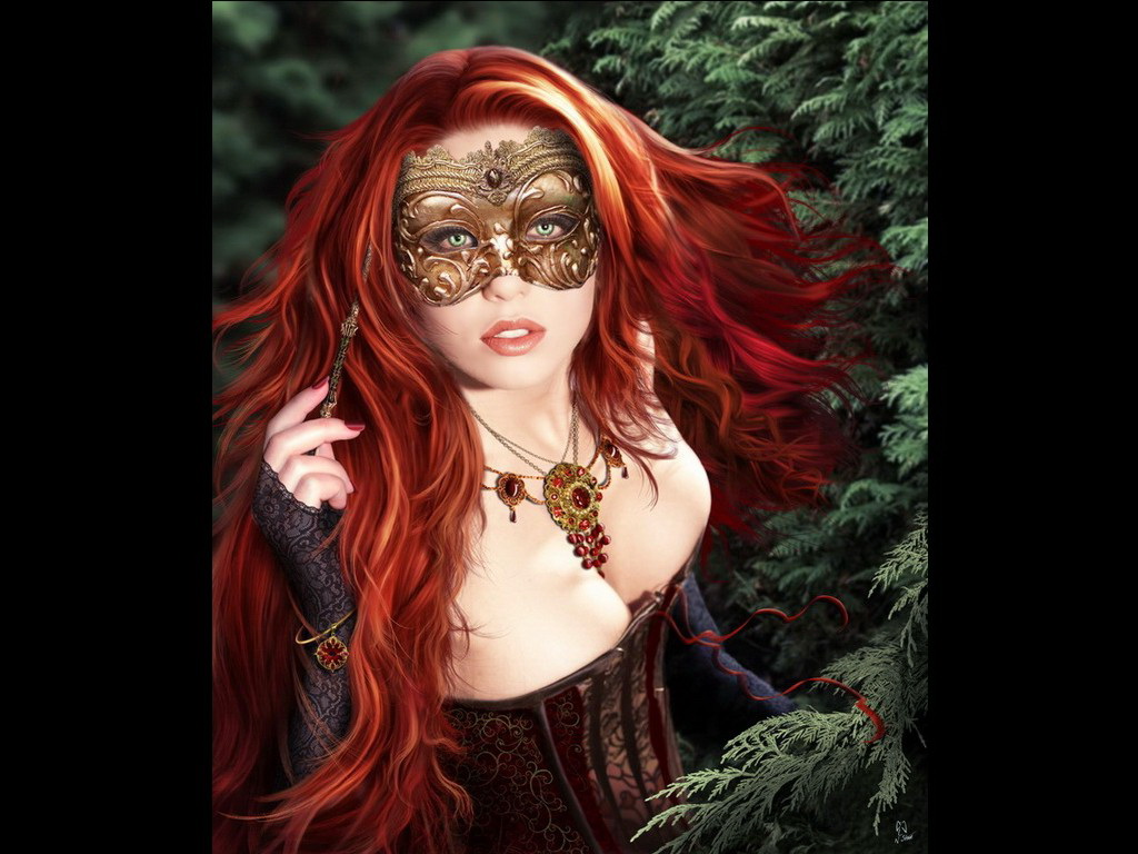 Red Princess In A Mask