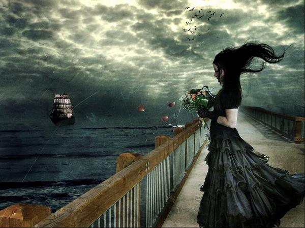 Dark Sea And Girl With Flowers
