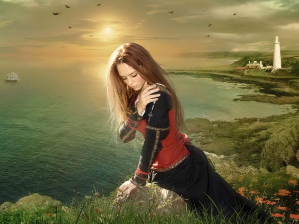 Fantasy Girl On River Shore
