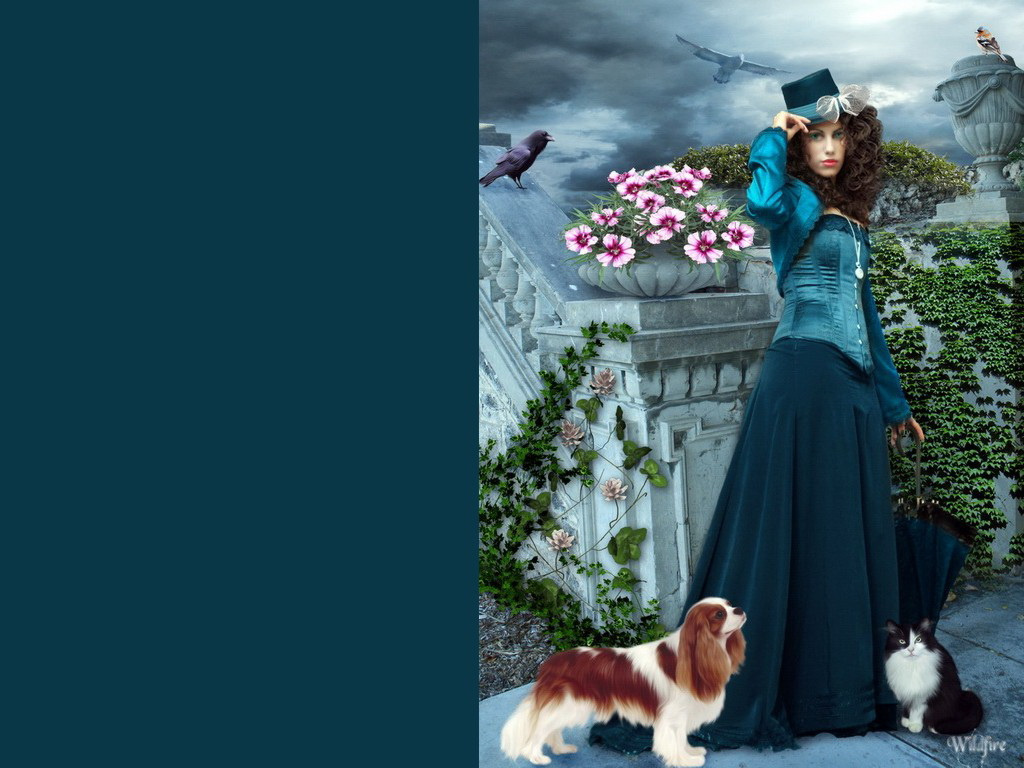 Fantasy Girl With Cat And Dog