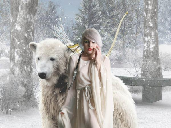 Beauty And White Bear