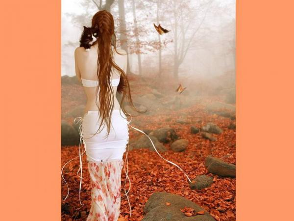 Girl With Cat In Autumn Garden, Magic Beauties 3