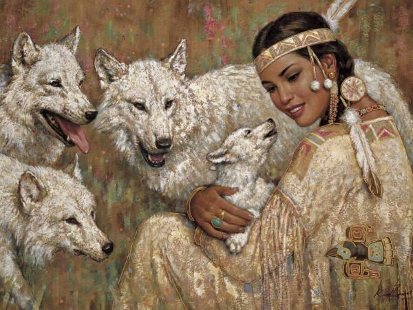 Indian Girl And Wolves