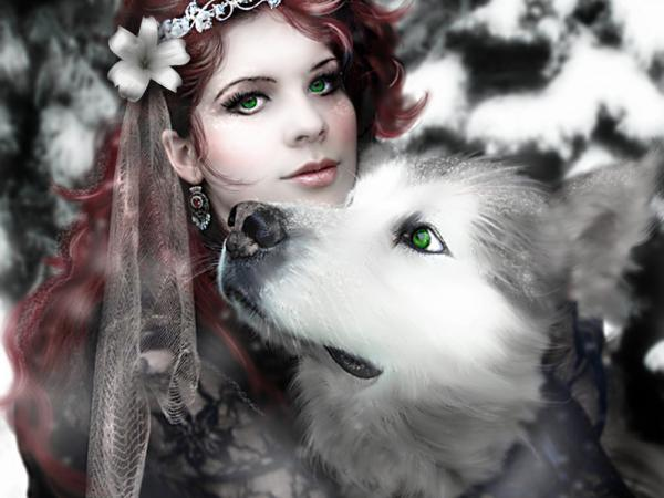 Wolf And Green Eyed Girl