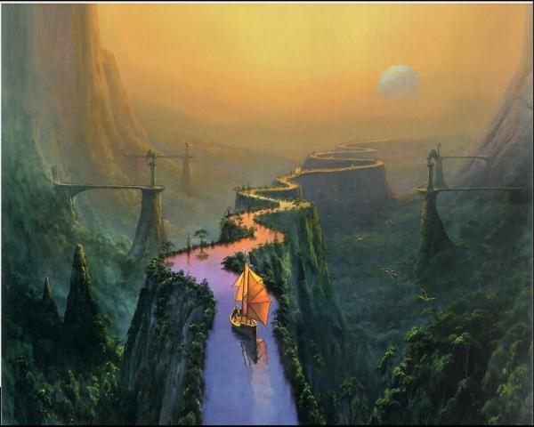 Ship On A Mountain River, Magical Landscapes 2