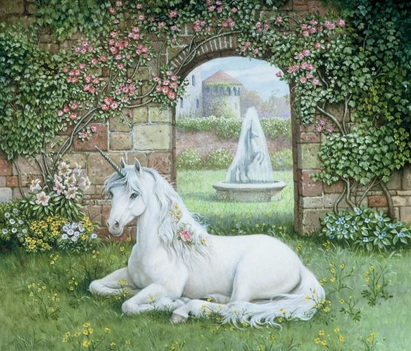 White Unicorn In The Garden, Magical Landscapes 2