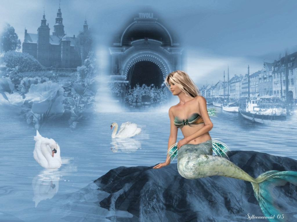 Two Swans And Little Mermaid