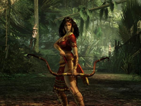 Girl Archer In Green Forest