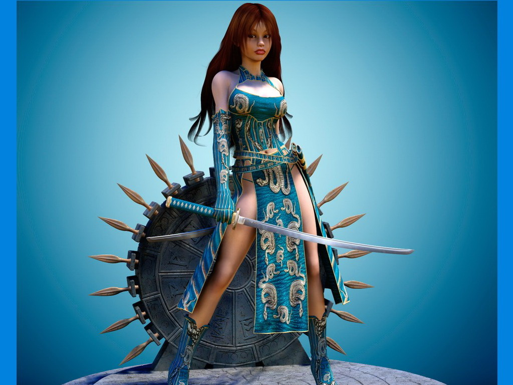 Sword And Shield Fantasy Girl