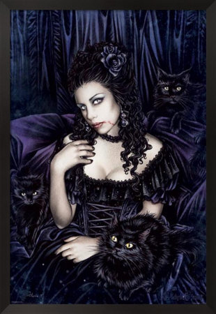 Gothic Witch And Cats