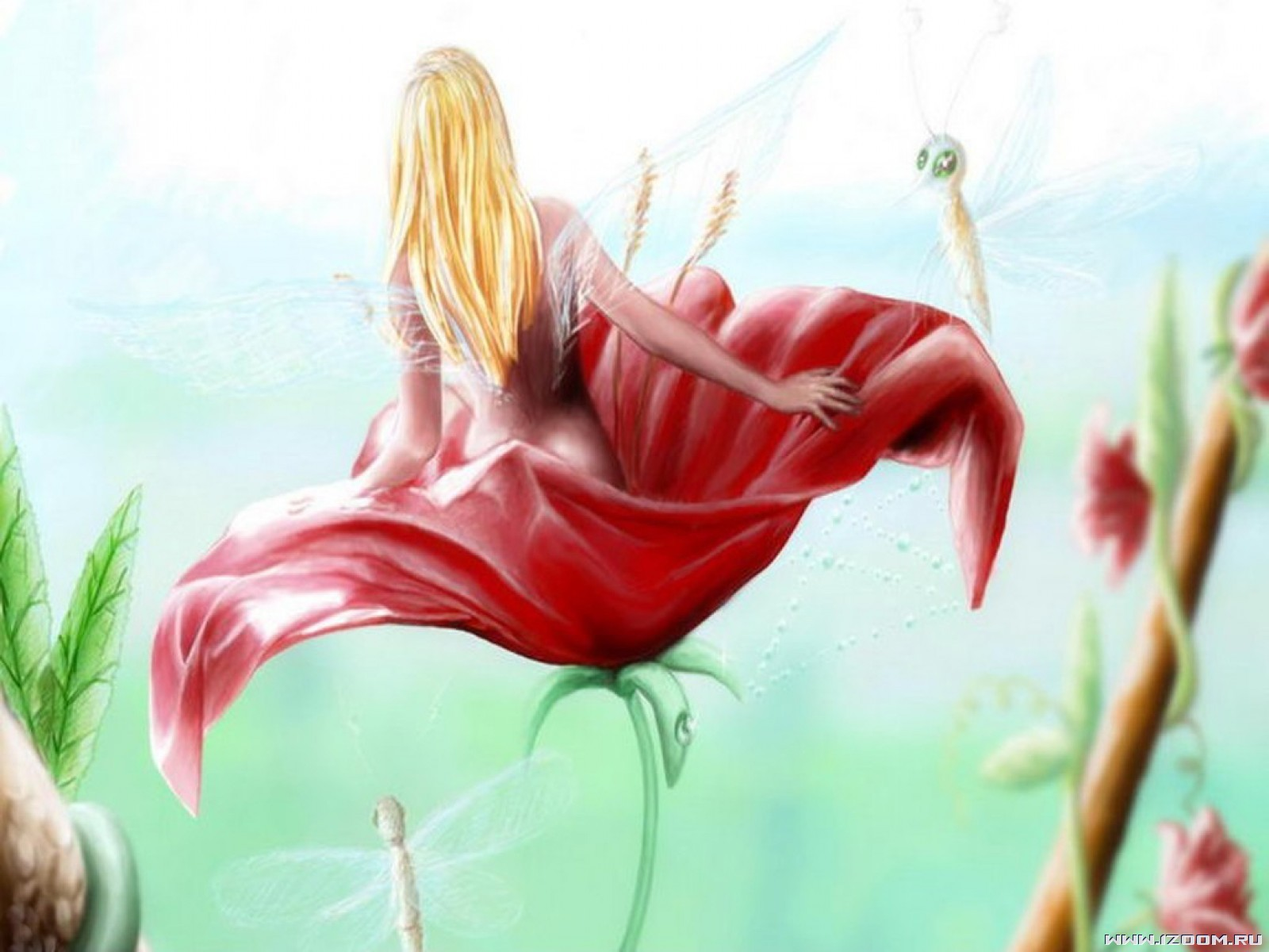 Little Fairy In The Red Flower