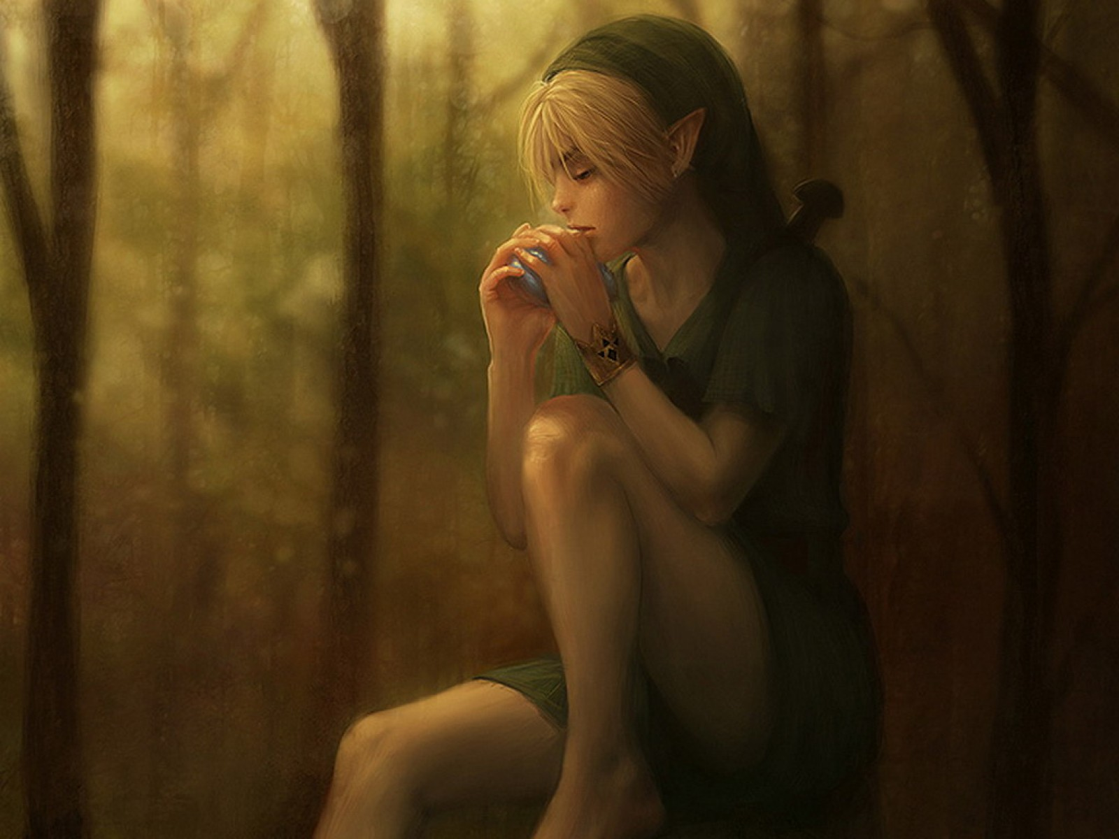 Elven Girl Drinking