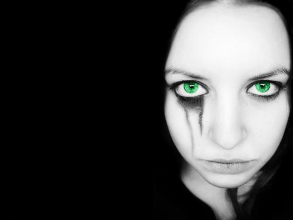 Gothic Girl With Green Eyes