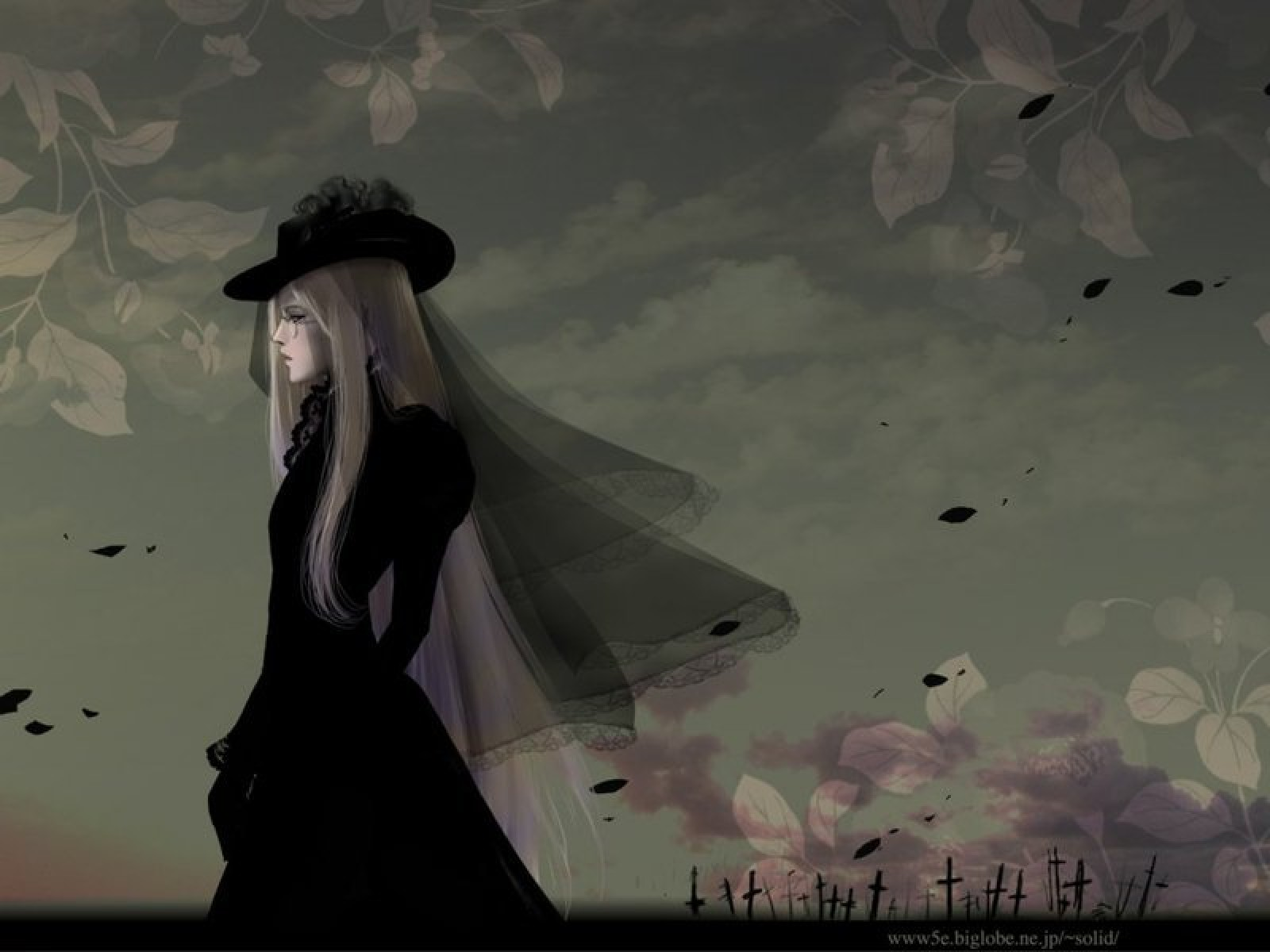 Black Lady On Cemetry