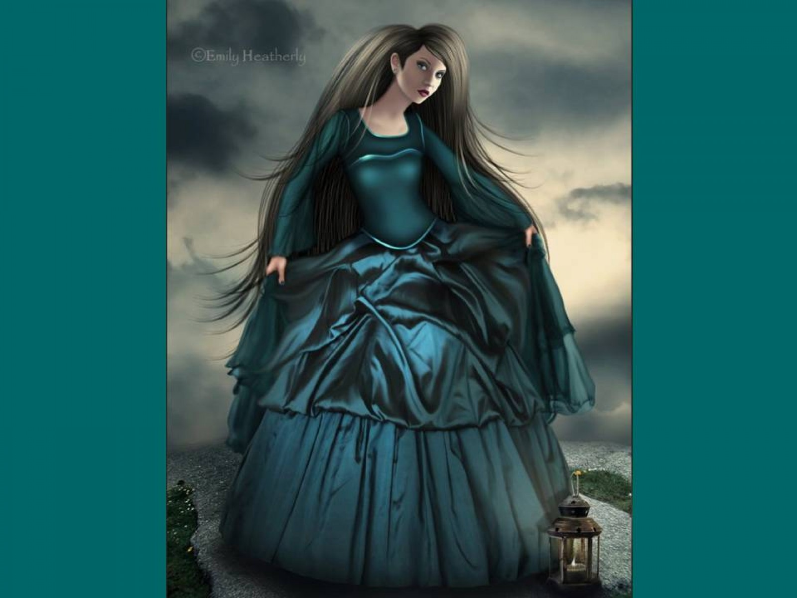 Lady In Blue Dress, Gothic