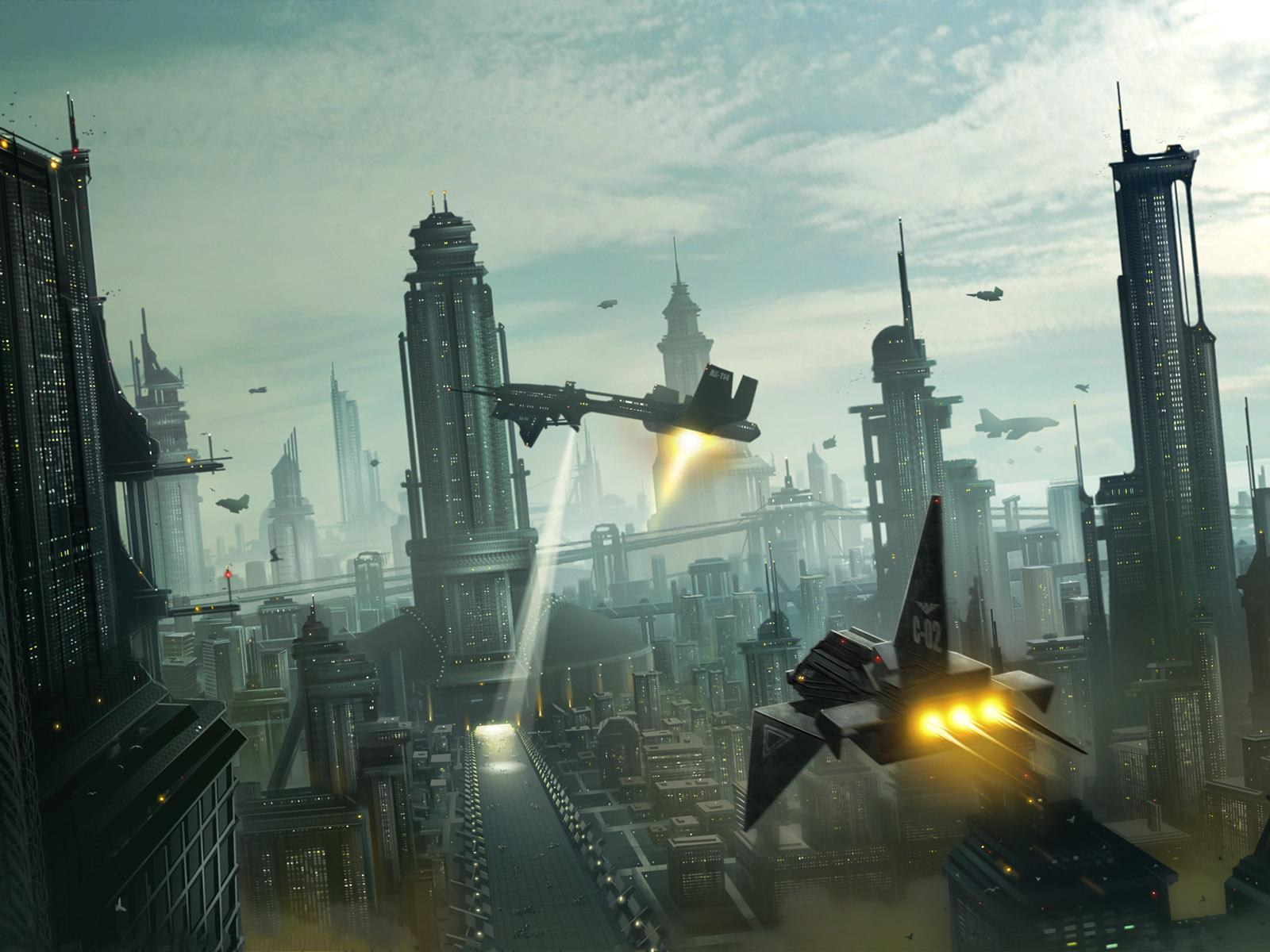 Space Ships Attack The City Of Iron Buildings