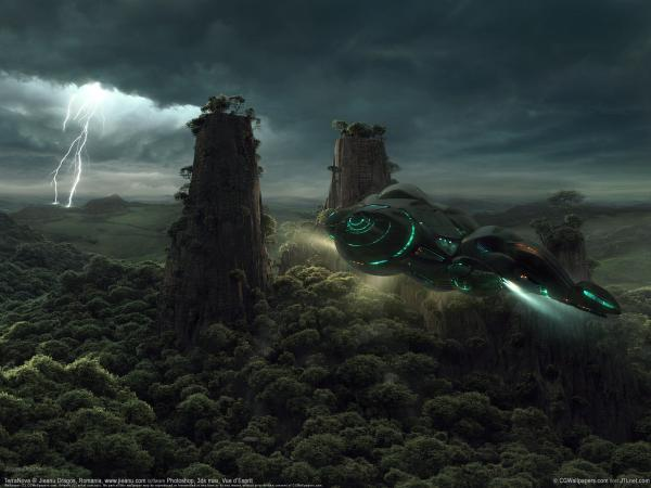 Over Green Forest Of Planet