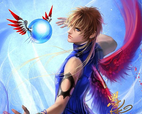 Red Winged Angel And Magic Sphere