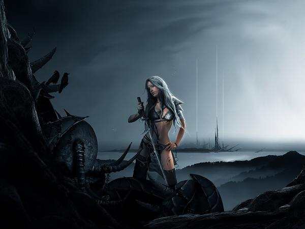 Girl Warrior On The Field Of Death