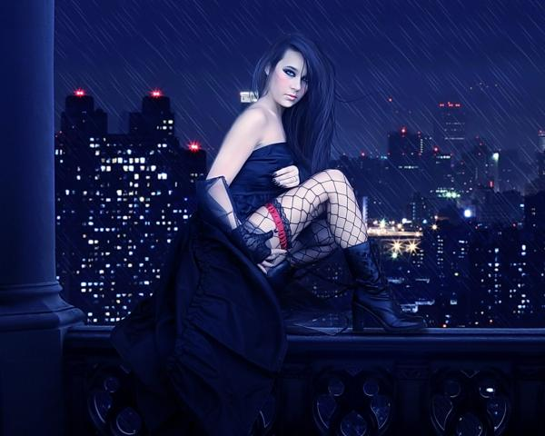Gothic Beauty At Night City