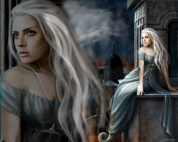 White Wicca Girl In The Castle
