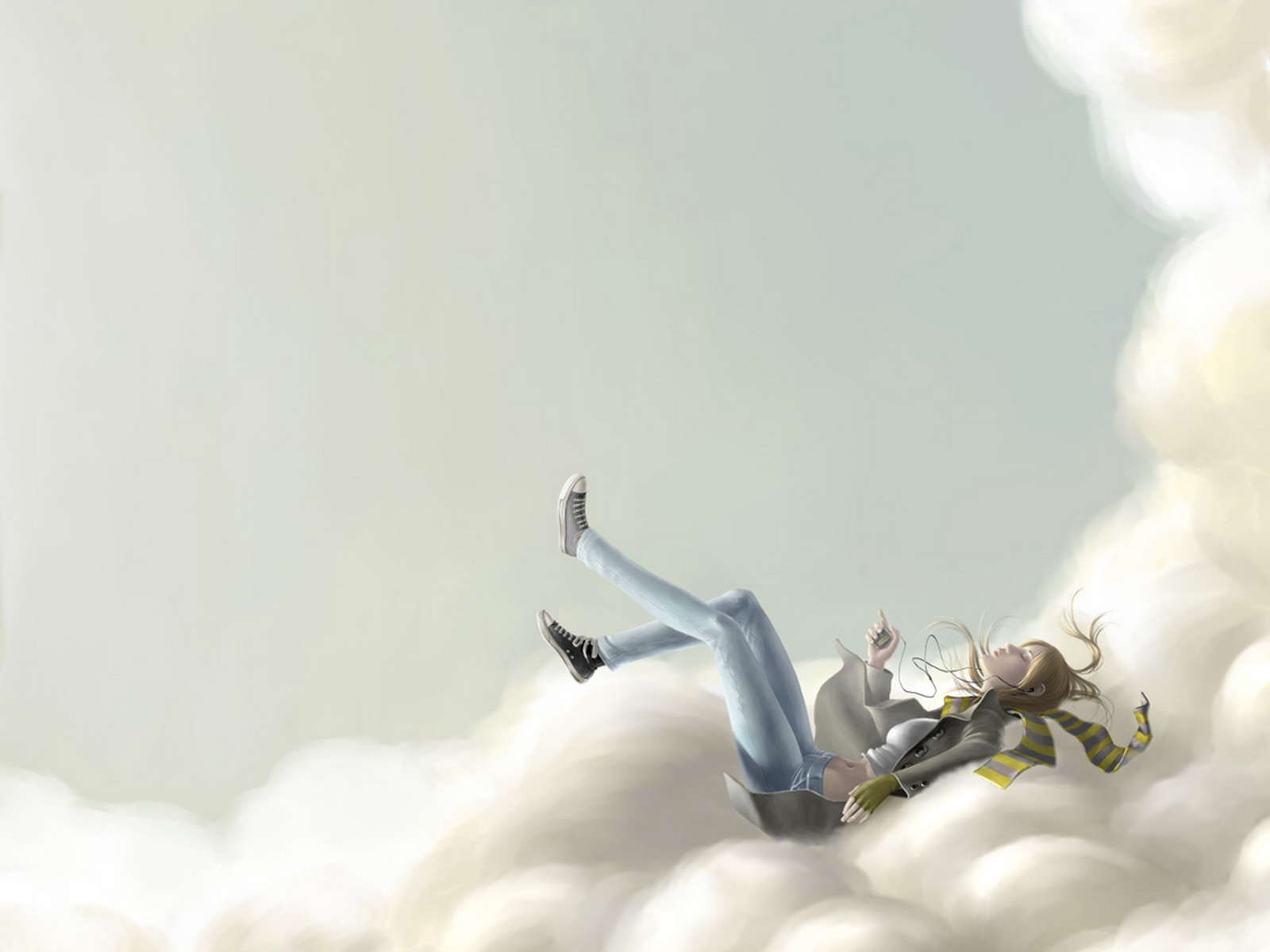 Girl Lying In The Clouds