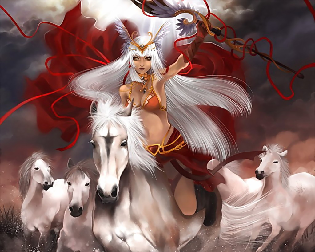 Lady Of White Herd Of Horses